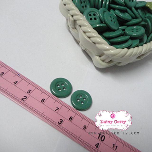 กระดุมพลาสติกสีเขียว ขนาด 1.5 ซ.ม. จำนวน 12 เม็ด(1โหล)