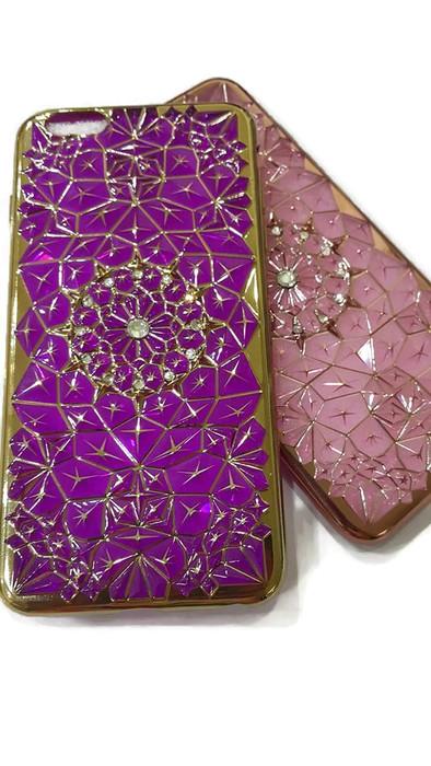 Case iphone 6 Plus / 6s Plus (TPU Case) สีม่วง ประดับลายทันสมัยและฝังเพชร