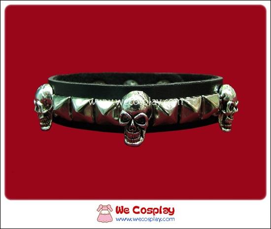 สร้อยข้อมือพังค์ Punk Wristband ตอกหมุดเงินเหลี่ยมและหัวกะโหลก 1 แถว