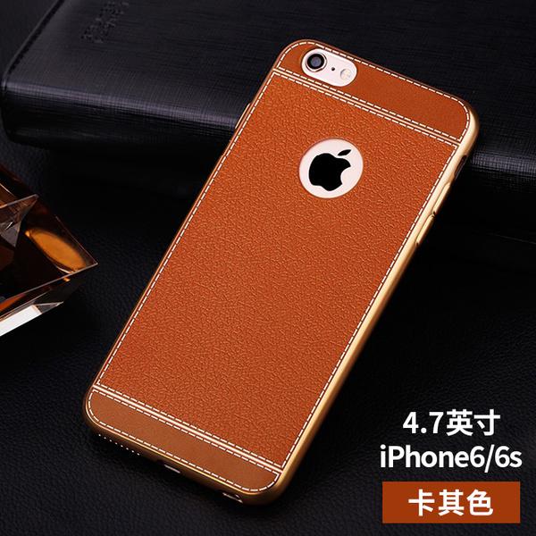 เคสไอโฟน 7 (TPU Case) ลายหนังสีน้ำตาลส้ม ขอบทองคลุมรอบเครื่อง