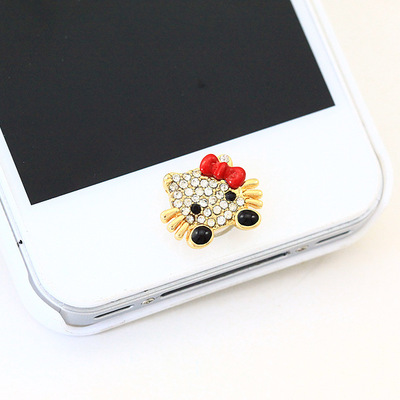 ปุ่มโฮมไอโฟนประดับเพชร คิตตี้โบว์แดง