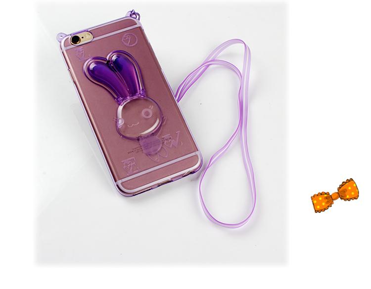 เคสไอโฟน 6 Plus / 6s Plus (เคสนิ่ม TPU) สีม่วงใส กระต่ายพร้อมสายคล้องคอ