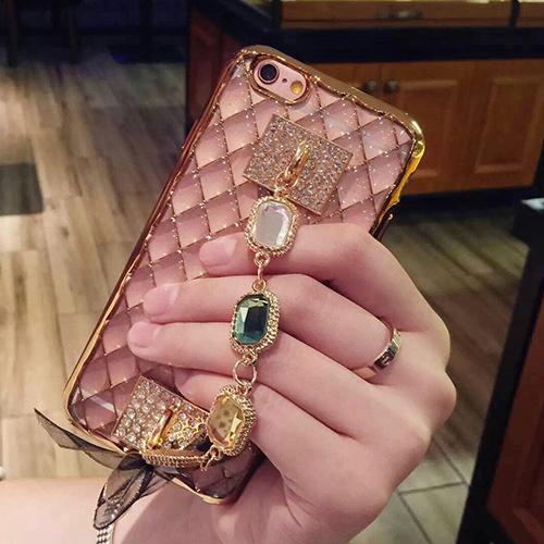 Case iphone 6 Plus / 6s Plus (TPU Case) สี Rose Gold พร้อมห่วงโซ่ฝังเพชรหรูหรา