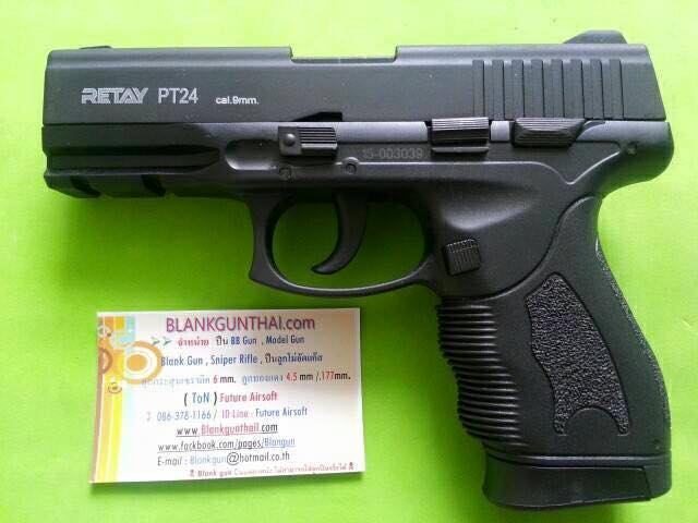 Retay PT24 Black Front Firing 9mm.PAK. Blank gun