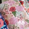 ผ้าคอตตอนลินิน 100% 1/4 เมตร(50x55cm.) โทนสีชมพูอ่อน ลายblossom