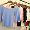 เสื้อยืดคอกลมแฟชั่นแขน 3 ส่วน คอกว้าง ผ้านิ่ม กับสีให้เลือกกันอย่างจุใจ