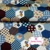 ผ้าคอตตอนไทย 100% 1/4 ม.(50x55ซม.) ลายตอ่ผ้าหกเหลี่ยม โทนสีน้ำเงิน
