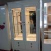 ตู้โชว์กระจกใสรอบวินเทจ สีขาว สำหรบบ้าน ร้านค้า