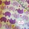 ผ้าคอตตอนไทย 100% 1/4 ม.(50x55ซม.) พื้นสีขาว ลายช้างน้อยสีม่วง