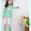 เสื้อผ้าเด็กขายส่งยกแพ็ค เสื้อเด็กผู้หญิงน่ารัก ลายจุด สีเขียว มีระบายหลังน่ารักเก๋ไก๋ แพ็ค 5 ตัว ไซด์ 100-140