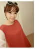 เดรสสั้นเกาหลีีสแขนยาวสีทูโทน รื่นเรียบเบาาสบายด้วยผ้าชีฟอง