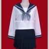 ชุดนักเรียนญี่ปุ่นแขนยาวสีขาว ปกกะลาสีกรมท่า โบว์สีเทา พร้อมถุงเท้ายาวสีดำ
