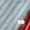 ผ้าคอตตอนไทย 100% 1/4 ม.(50x55ซม.) ลายทางฟ้า ขาว