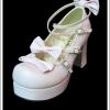 รองเท้าโกธิคโลลิต้าพังค์ คิวท์ปาร์ตี้ริบบ้อนฮีล สีชมพู ผิวด้าน