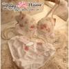 Pre Order ชุดชั้นในลายดอกไม้ เย็บตกแต่งด้วยขอบลูกไม้เล็กๆ เพิ่มความหวานให้กับสาวๆ ที่ชอบลายน่ารักๆ