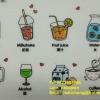 สติ๊กเกอร์ติดผนัง ชุดคำศัพท์จีน-อังกฤษ หมวดเครื่องดื่ม