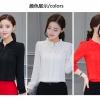 เสื้อชีฟองใหม่ สไตล์สาวเกาหลี ปกสูงแต่งด้วยลูกไม้ กับสีพื้นยอดนิยม ขาว - ดำ - แดง