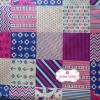 ผ้าคอตตอนไทย 100% 1/4 ม.(50x55ซม.) โทนสีชมพูลายต่อผ้า สมอเรือ