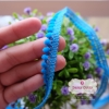 ลูกไม้แต่งปอมปอมเล็กสีฟ้าเข้ม กว้าง 1 ซ.ม. แบ่งขายเป็นหลา