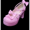 รองเท้าโกธิคโลลิต้าพังค์ คิวท์ปาร์ตี้ริบบ้อนฮีล สีชมพูเข้ม ผิวมัน