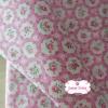 ผ้าคอตตอนลินินญี่ปุ่น 100% 1/4 ม.(50x55ซม.) พื้นสีชมพู ลายดอกไม้