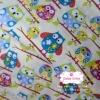 ผ้าคอตตอน 100% 1/4 ม.(50x55ซม.) พื้นสีครีม ลายนกฮูกแฟนตาซี