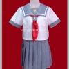 ชุดนักเรียนญี่ปุ่นแขนสั้นสีเทา ผ้าพันคอสีแดง
