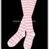 ถุงเท้าโกธิคโลลิต้า ยาวเหนือเข่า ลายขวาง สีชมพูขาว