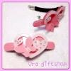 กิ๊บสปริงรูปหัวใจกับผีเสื้อ สีชมพู