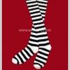 ถุงเท้าโกธิคโลลิต้าพังค์ ยาวเหนือเข่า ลายขวาง สีขาวดำ