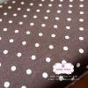 ผ้าคอตตอนลินิน 1/4ม.(50x55ซม.) สีน้ำตาลเข้ม ลายจุดสีขาว