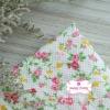 ผ้าคอตตอนไทย 100% 1/4 ม.(50x55ซม.) ลายดอกไม้ พื้นสีครีม