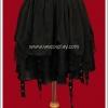 กระโปรงพังค์ สีดำ ตอกตาไก่สลับลายผ้าโปร่ง Black Punk Skirt