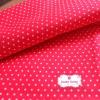 ผ้าคอตตอน 100% 1/4 ม.(50x55ซม.) พื้นสีแดง ลายจุดเล็กสีขาว