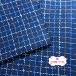 ผ้าทอญี่ปุ่น 1/4เมตร พื้นสีน้ำเงิน ลายตาราง