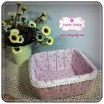 ตะกร้าผ้า สีชมพูม่วงลายดอกไม้