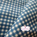 ผ้าคอตตอนลินิน 1/4ม.(50x55ซม.) ลายตารางโทนสีน้ำเงิน