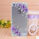 เคสไอโฟน 4/4s (Case Iphone 4/4s) เคสไอโฟนกรอบใส ประดับมุกและดอกไม้สีม่วง