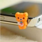 จุกเสียบ iphone4/4s/samsung bear orange