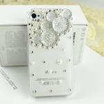เคสไอโฟน4/4s (Case Iphone 4/4s) เคสไอโฟนกรอบโปร่งใส ประดับเพชรมุก รูปหัวมิกกี้เม้าส์สีขาว