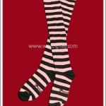 ถุงเท้าโกธิคโลลิต้าพังค์ ยาวเหนือเข่า ลายขวาง สีชมพูดำ