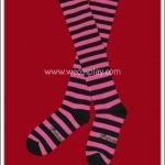 ถุงเท้าโกธิคโลลิต้าพังค์ ยาวเหนือเข่า ลายขวาง สีชมพูบานเย็น-ดำ