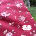 ผ้าคอตตอนไทย 100% 1/4 ม.(50x55ซม.) พื้นสีแดง ลายดอกไม้
