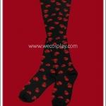 ถุงเท้าแนวพั้งค์ สีดำ ลายกะโหลกสีแดง