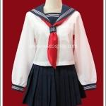 ชุดนักเรียนญี่ปุ่นแขนยาว สีขาว ปกกะลาสีสีน้ำเงิน ผ้าพันคอสีแดง