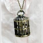 สร้อยคอโกธิคโลลิต้า จี้กรงนก ล็อกเก็ตนาฬิกา สีทองโบราณ