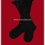 ถุงเท้าโกธิคโลลิต้าสีดำยาวเหนือเข่า ติดลูกไม้สีดำ