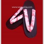 รองเท้าเกตะผู้หญิง สายคาดพื้นขาว ลายดอกไม้สีแดง