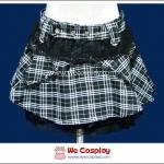 กระโปรงพังค์โลลิต้า Punk Lolita Skirt ลายสก๊อตสีขาวดำ ระบายชายกระโปรงด้วยลูกไม้