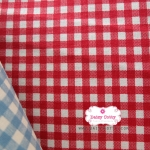 ผ้าคอตตอนลินิน 1/4ม.(50x55ซม.) ลายตารางโทนสีแดง